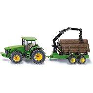 Siku Farmer - Traktor John Deere s lesním přívěsem - Kovový model