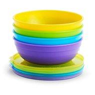 Munchkin – Set barevných misek s víčky a lžičkami - Dětská jídelní sada