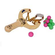Dřevěné hračky - Prak s kuličkami - Venkovní hra