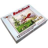 Topa dřevěné kostky kubus - Budulínek 12 ks - Obrázkové kostky