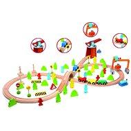 Teddies Dřevěný vlak s dráhou a doplňky - Vláček