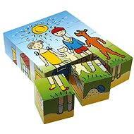Topa dřevěné kostky kubus - Pejsek a kočička 12 ks - Obrázkové kostky