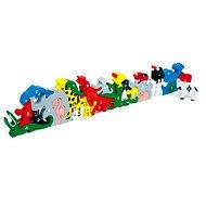 Dřevěné hračky - Zvířata s písmeny a číslicemi - Herní set