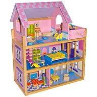 RaKonrad Velký dřevěný domeček pro panenky - růžový - Doplněk pro panenky