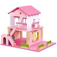 Dřevěný domeček pro panenky - růžový - Doplněk pro panenky