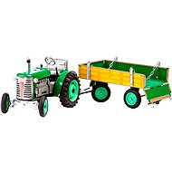 Kovap Tractor with flatbed trailer in green - Metal Model