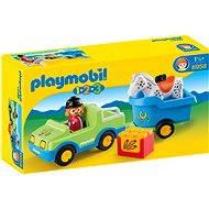 Playmobil 1.2.3 6958 Auto s koňským přívěsem - Stavebnice