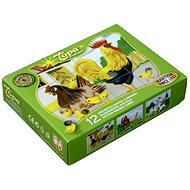 Topa dřevěné kostky kubus - Domácí zvířátka 12 ks - Obrázkové kostky