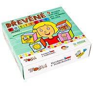 Topa dřevěné kostky kubus - Pro nejmenší děti 4 ks - Obrázkové kostky