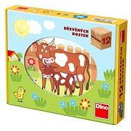 Dino dřevěné kostky kubus - Domácí zvířátka