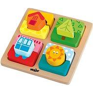 "Woody Destička s puzzle- tvary ""Slunce domova"" - Didaktická hračka"