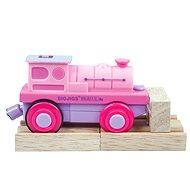 Bigjigs Elektrická lokomotiva - Mašinka růžová - Příslušenství k vláčkodráze