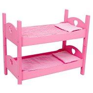 Dřevěné hračky - Patrová postýlka pro panenky růžová - Nábytek pro panenky