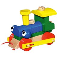 Mrkací mašinka/vlak tahací - Dřevěná hračka