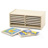 Sada dřevěných puzzlí - 12 ks - Dřevěná hračka