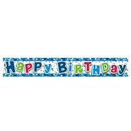 Banner Happy Birthday, modrý