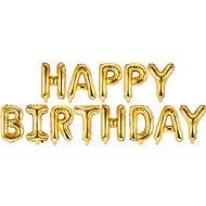 Foliový balónek, 340x35cm, Happy Birthday, zlatý - Balonky