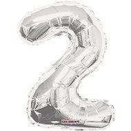 """Foliový balónek, 35cm, číslice """"2"""", stříbrný - Balonky"""