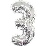 """Foliový balónek, 35cm, číslice """"3"""", stříbrný - Balonky"""