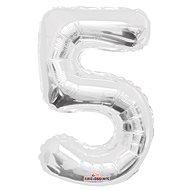 """Foliový balónek, 35cm, číslice """"5"""", stříbrný - Balonky"""