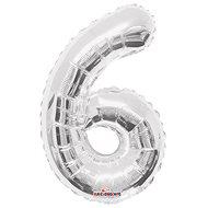 """Foliový balónek, 35cm, číslice """"6"""", stříbrný - Balonky"""