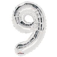 """Foliový balónek, 35cm, číslice """"9"""", stříbrný - Balonky"""