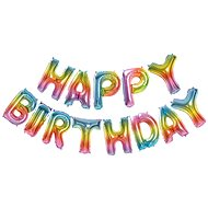 Foliový balónek, 35cm, Happy Birthday, duhové barvy - Balonky