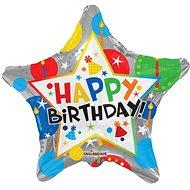 Foliový balónek, 46cm, hvězda, narozeninová stříbrná - Balonky