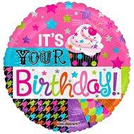 Foliový balónek, 46cm, kruh, cupcake tvoje narozeniny - Balonky