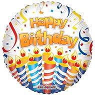 Foliový balónek, 46cm, kruh, Happy Birthday dort a svíčky - Balonky