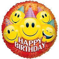 Foliový balónek, 46cm, kruh, party smilies narozeniny - Balonky