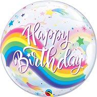 Foliový balónek, 56cm, plastový, Happy Birthday, duha, jednorožec - Balonky