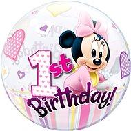 Foliový balónek, 56cm, plastový, Myška Minnie, první narozeniny - Balonky