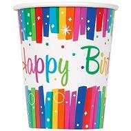 Kelímky papírové, 0,27 l, Happy Birthday, barevné pruhy, 8ks - Kelímek