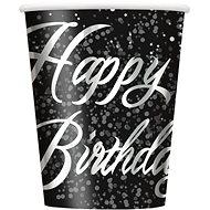 Kelímky papírové, 0,27 l, Happy Birthday, stříbrný nápis, 8ks - Kelímek