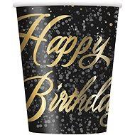 Kelímky papírové, 0,27 l, Happy Birthday, zlatý nápis, 8ks - Kelímek