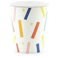 Kelímky papírové, 0,2l, zlaté hvězdičky, barevné proužky, 6ks - Kelímek