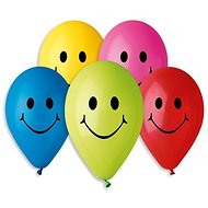 Inflatable Balloons, 26cm, Smiley, Mixed Colours, 10pcs - Balloons