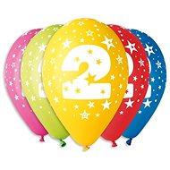 """Nafukovací balónky, 30cm, číslice """"2"""" mix barev, 5ks - Balonky"""