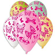 Inflatable balloons, 30cm, butterfly, mix of colours, 5pcs - Balloons
