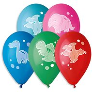 Inflatable balloons, 30cm, cheerful dinosaurs, mix of colours, 5pcs - Balloons