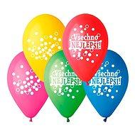 Nafukovací balónky, 30cm, všechno nejlepší, mix barev, 5ks - Balonky