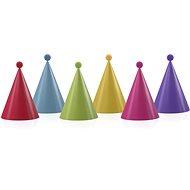 Párty papírové čepičky, s kuličkami, mix barev, 6ks