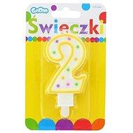 """Svíčka narozeninová, 7,5cm, číslice """"2"""", barevná - Svíčka"""