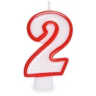 """Svíčka narozeninová, 7,5cm, číslice """"2"""", bílá - Svíčka"""