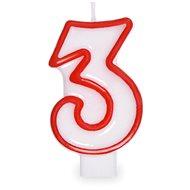 """Svíčka narozeninová, 7,5cm, číslice """"3"""", bílá - Svíčka"""