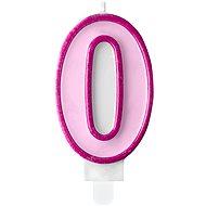 """Svíčka narozeninová, 7cm, číslice """"0"""", růžová - Svíčka"""