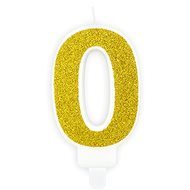 "Birthday Candle, 7cm, Number ""0"", Gold - Candle"