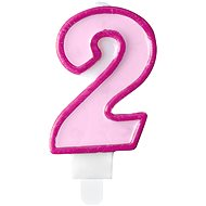 "Birthday Candle, 7cm, Number ""2"", Pink - Candle"