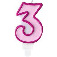"""Svíčka narozeninová, 7cm, číslice """"3"""", růžová - Svíčka"""